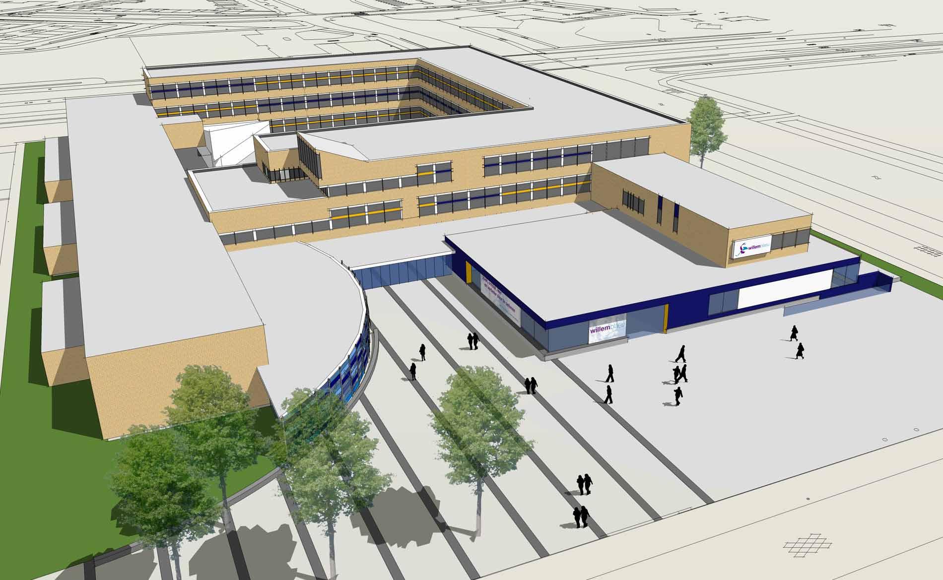 architect scholen voorgezet onderwijs renovatie schoolgebouw Willem Blaeu Alkmaar BBHD architecten