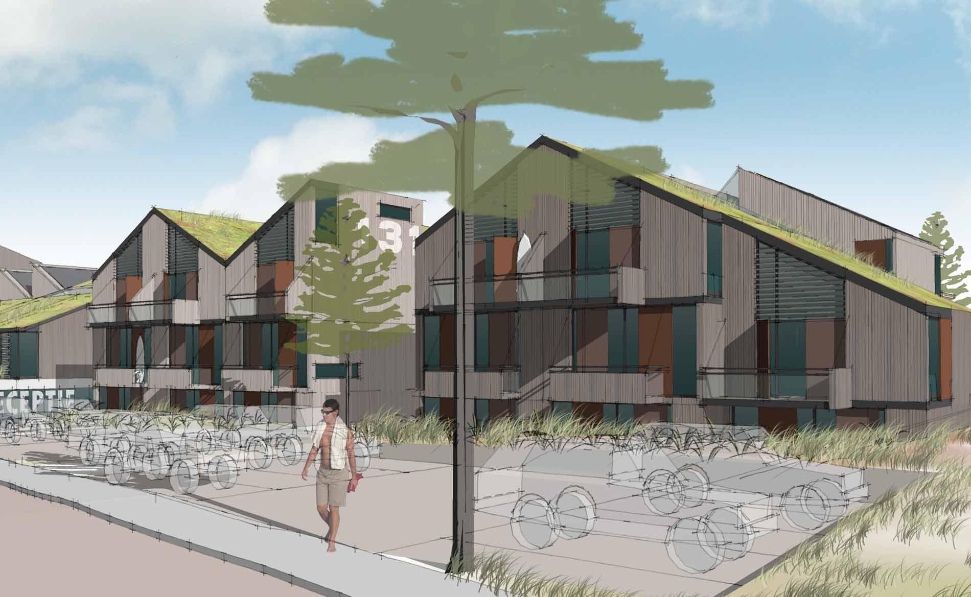 architect hotel recreatie appartementen camperduin duinlandschap architectuur BBHD architecten