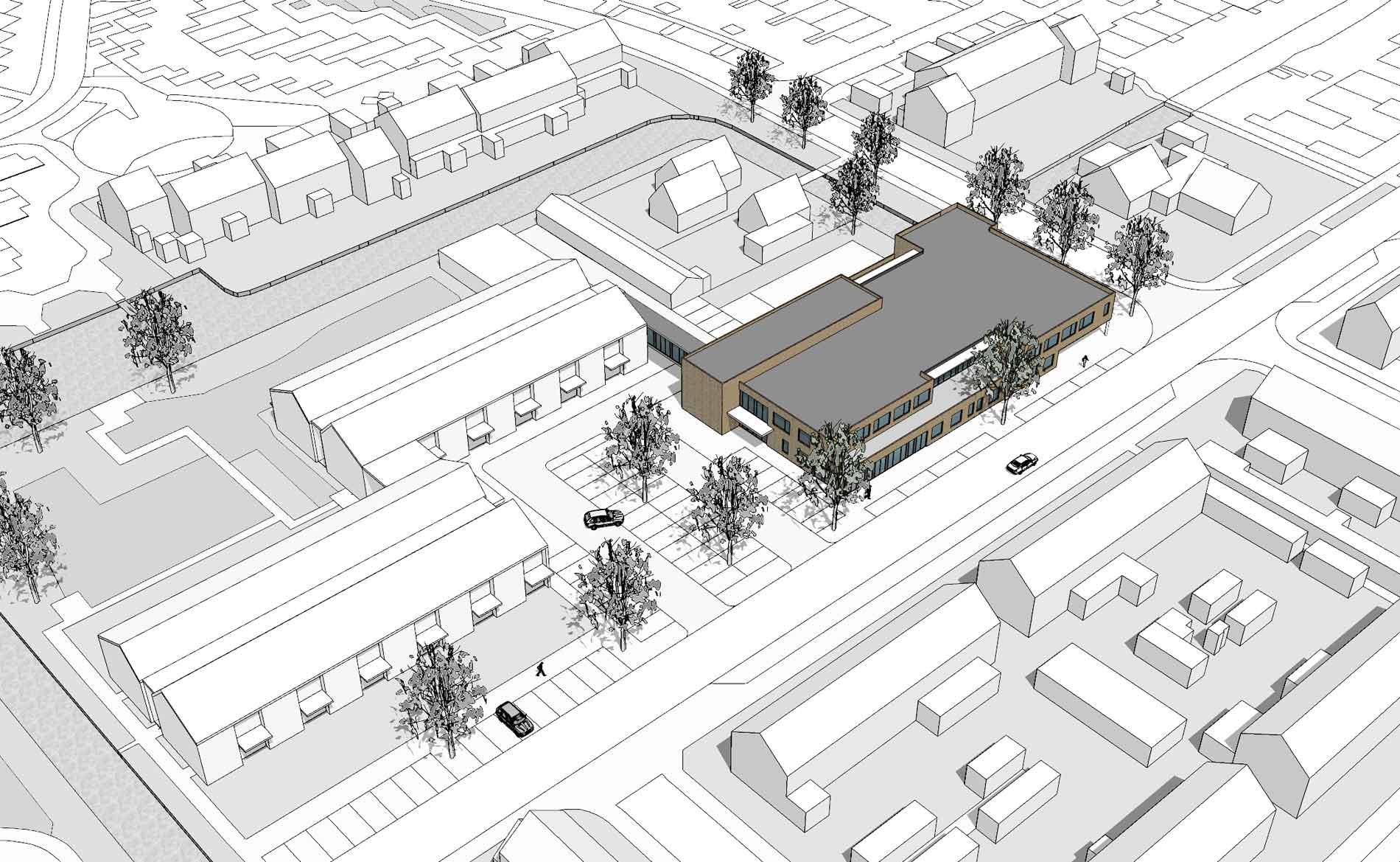 MFA woonzorggebouw ouderenhuisvesting appartementen huisarts apotheek peuterspeelzaal BBHD architecten-Op-t-Snijdersveld-Obdam