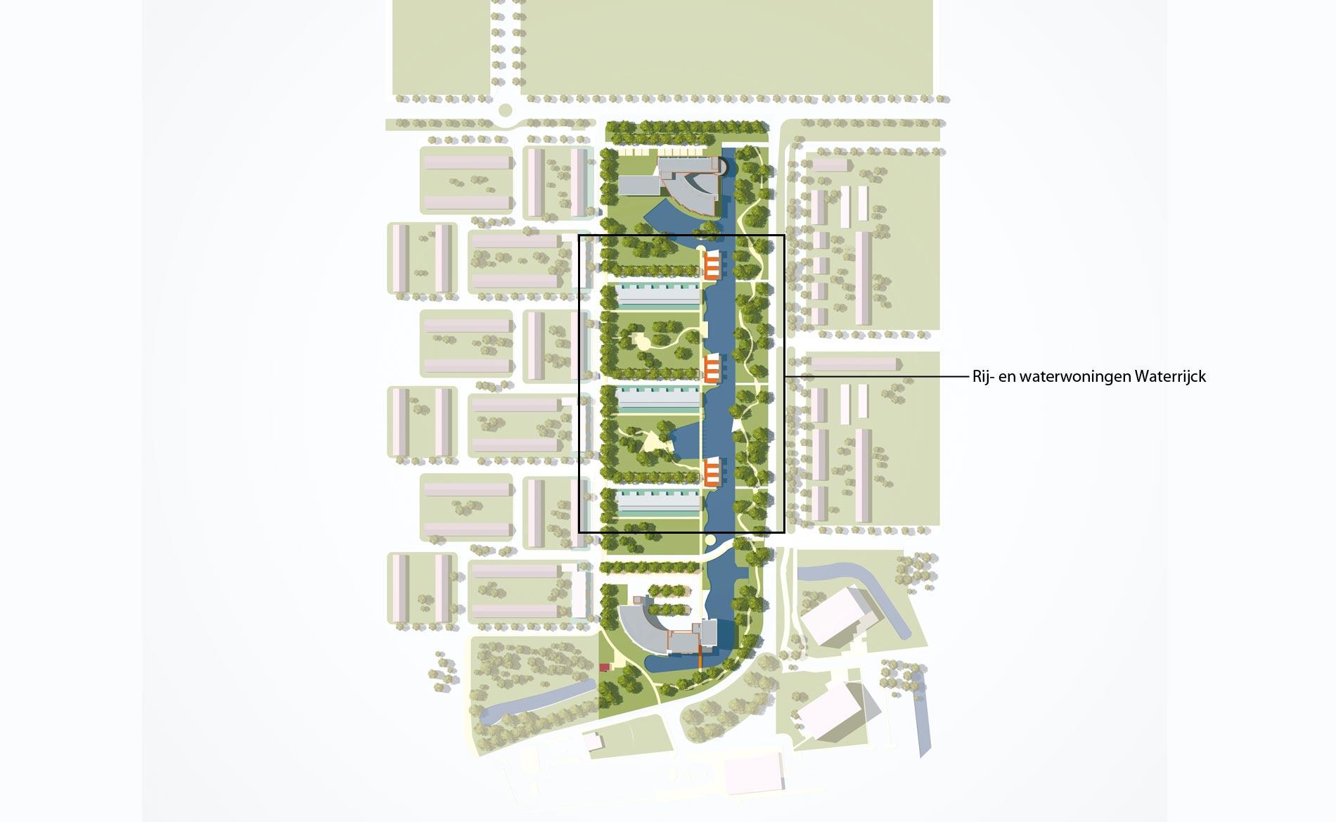 Stadsvernieuwing Heemskerk Waterrijck rijwoningen waterwoningen park BBHD architecten
